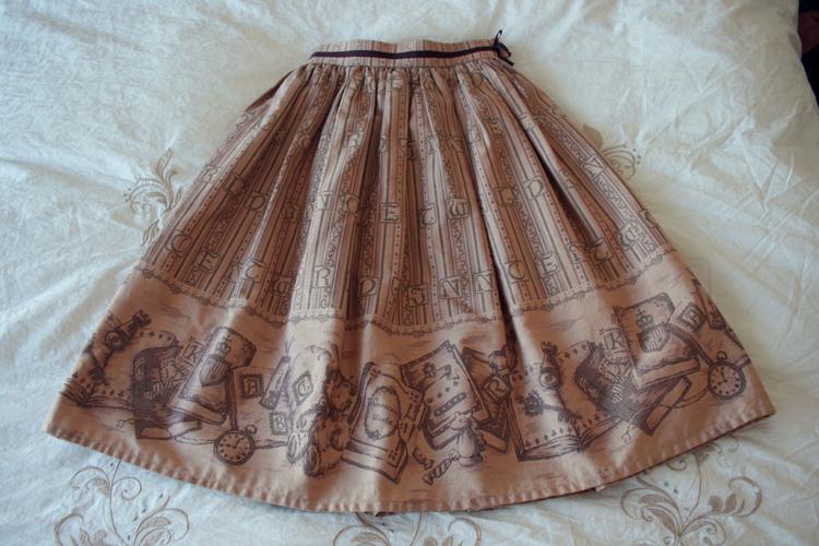 Bordeaux antique book skirt
