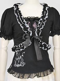 Front Ribbon Bolero with puff sleeves h.naoto