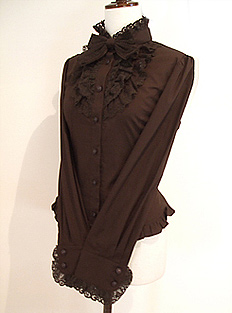 Innocent World Mille Feuille Lace Blouse chocolate brown