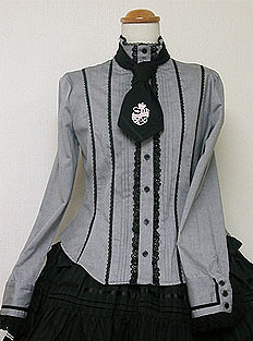 Standing Collar Blouse with detachable tie emblem Angelic Pretty