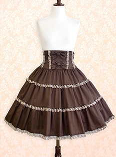 Tulle Lace Tiered Skirt Innocent World Chocolate