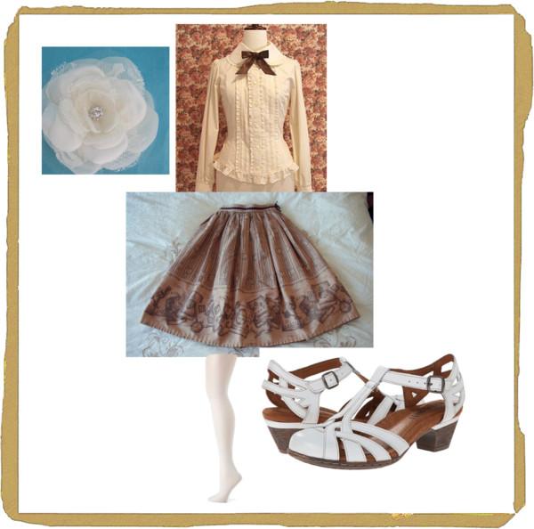 antique book skirt coordinate brown