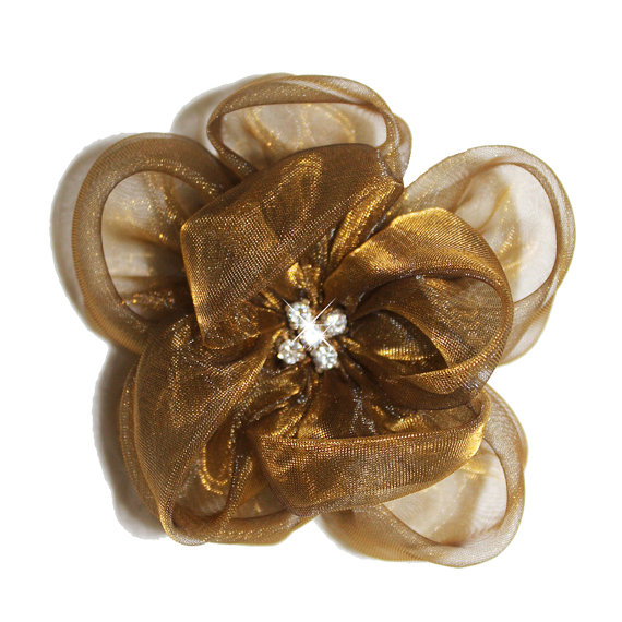 brown and gold rose clip